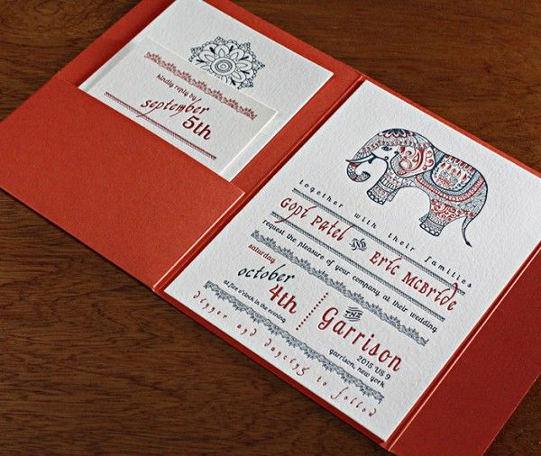 Modern Indian Wedding Invitation Letterpressed With Blue And Rust Inks Decorated A Henna Inspired Elephant Motif Paired Colored Pocket