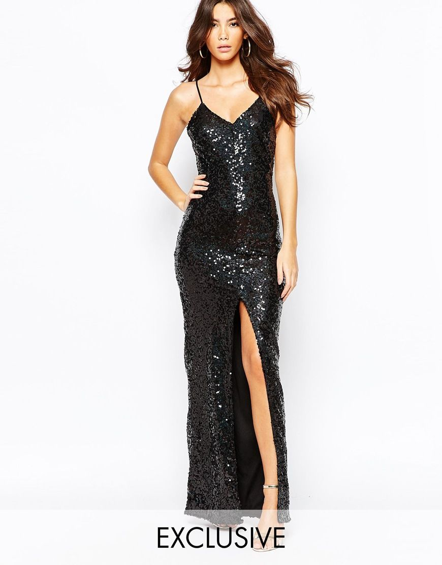 Image 1 of NaaNaa All Over Sequin Dress With Cross Back - Clothes ...