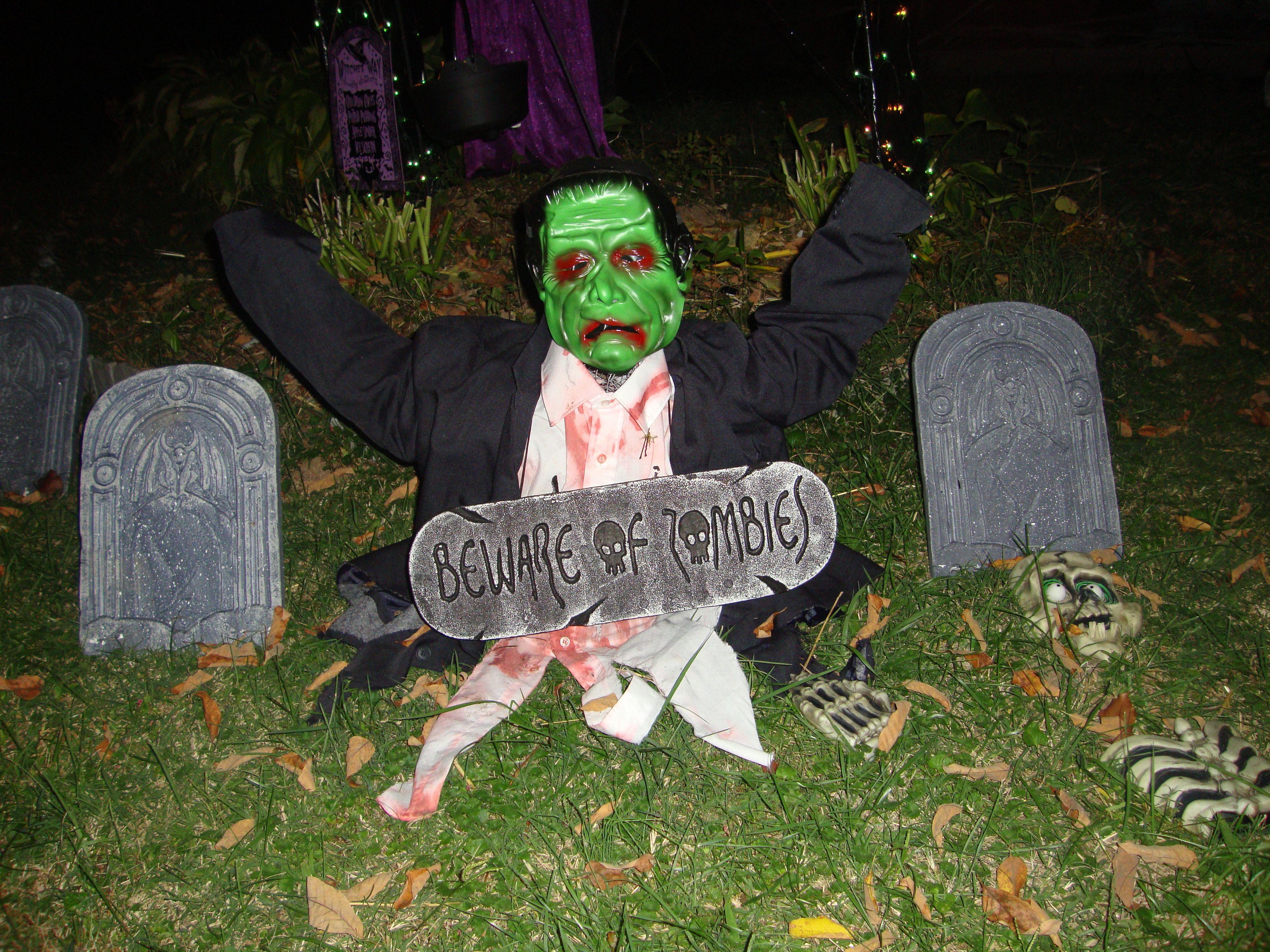 frankenstein zombie cemetery halloweenheadstones tombstones