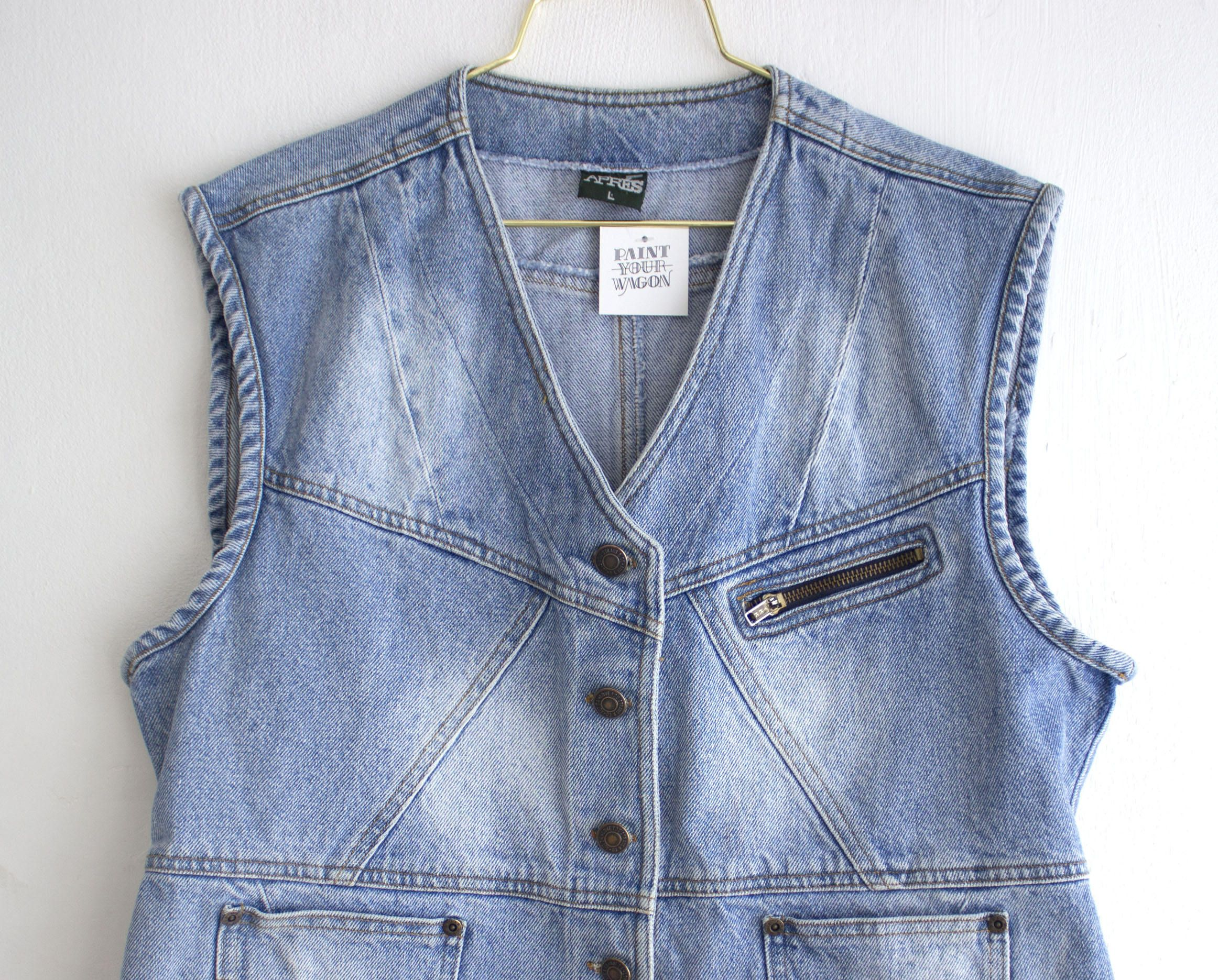 1990s Denim Vest In A Classic Silhouette This Cool 90s Jean Sleeveless Jacket Will Fit Both Men And Women The Met Sleeveless Jacket Denim Fashion Denim Vest [ 1871 x 2324 Pixel ]