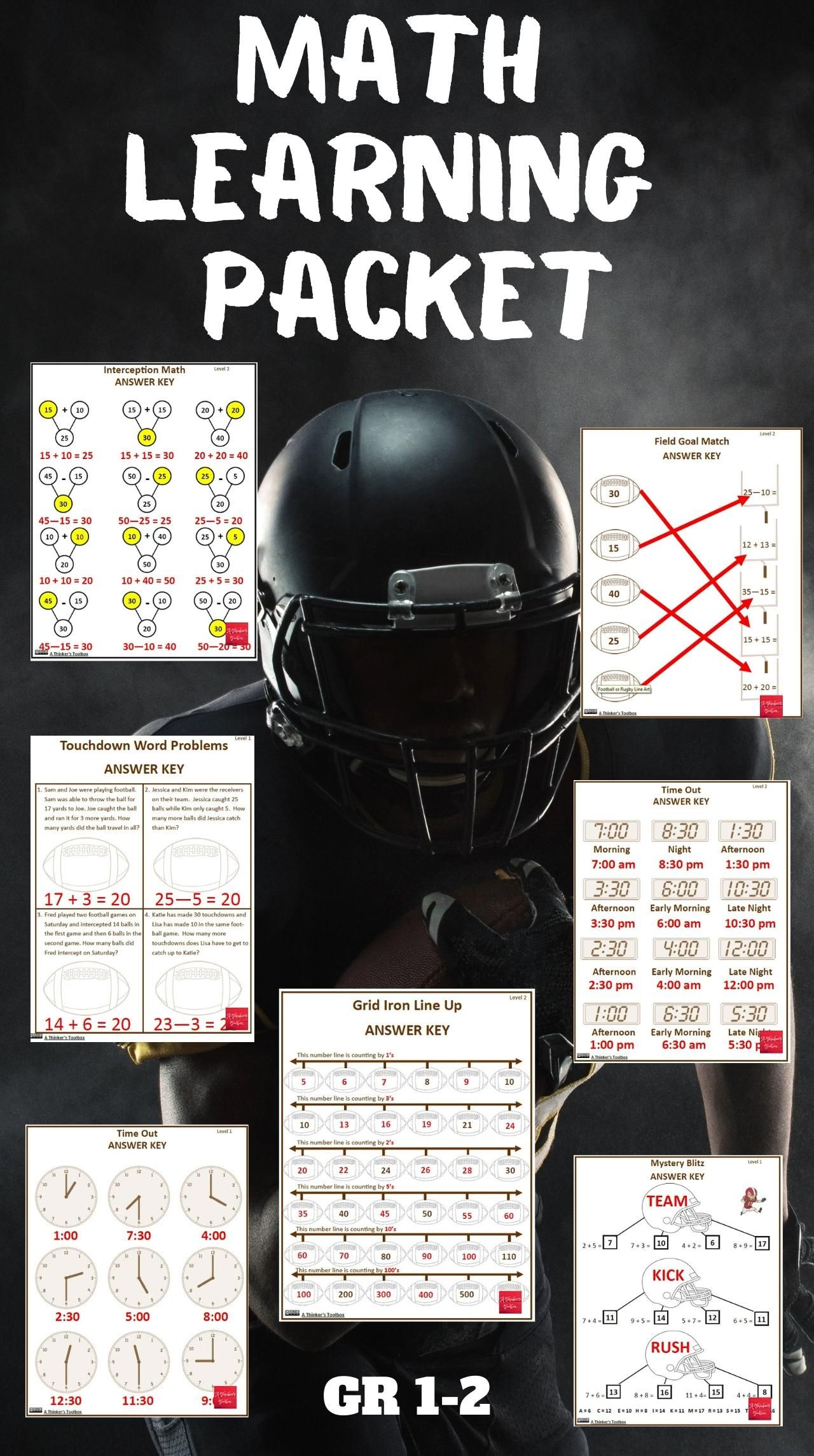 Super Football Math Worksheets No Prep Video Video Math Resources Early Elementary Resources Math Worksheets [ 2290 x 1280 Pixel ]