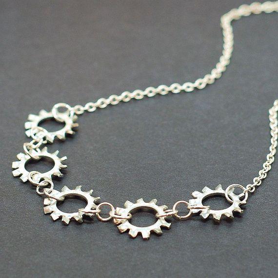 Industrial Hardware Jewelry Silver Lock Washer Geometric di Tanith