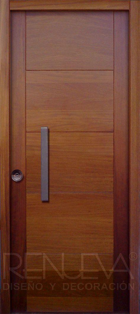 Puerta de entrada de madera de iroko de una hoja casa for Puertas interiores modernas