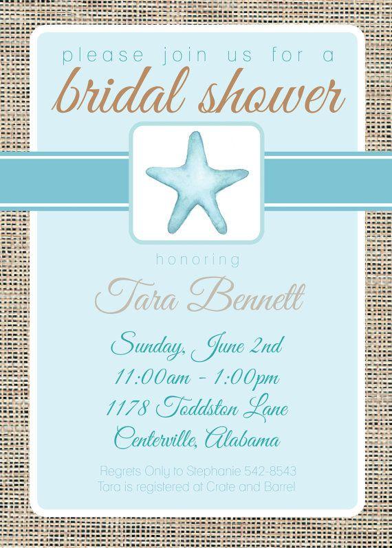 coastal bridal shower invitation starfish bridal by graceandglee 1600
