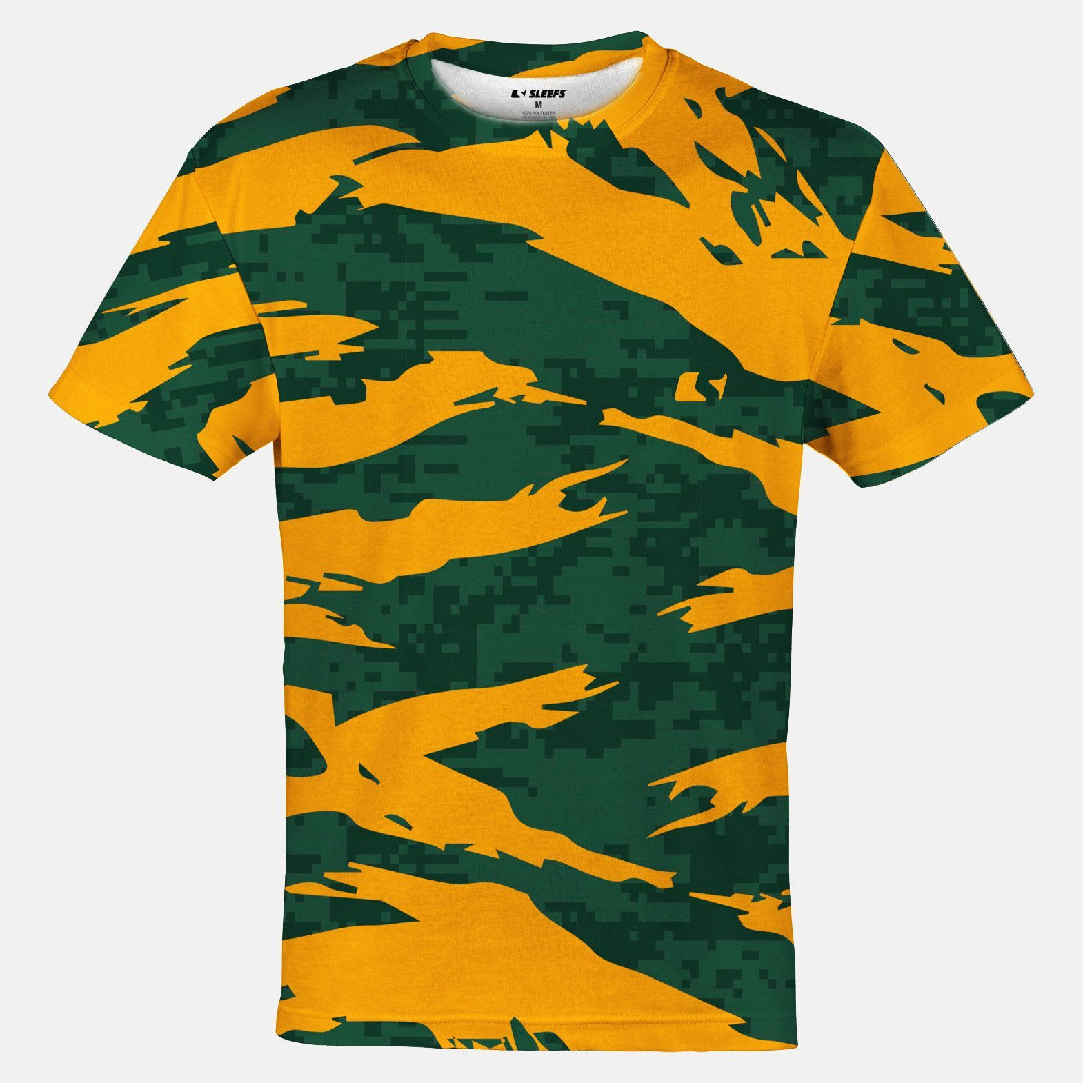 Digital Ripped Camo Green Yellow Quick-Dry Jersey