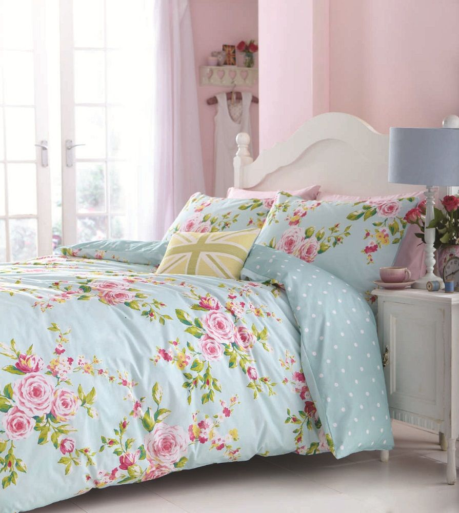 Blue shabby chic bedding - Floral Duvet Cover In Double Kingsize Flowery Bed Linen Shabby Chic New