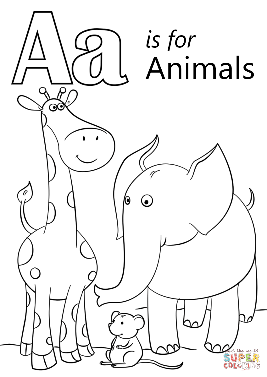 Letter A Is For Animals Coloring Page Free Printable Coloring Pages Letter A Coloring Pages Preschool Coloring Pages Alphabet Coloring Pages