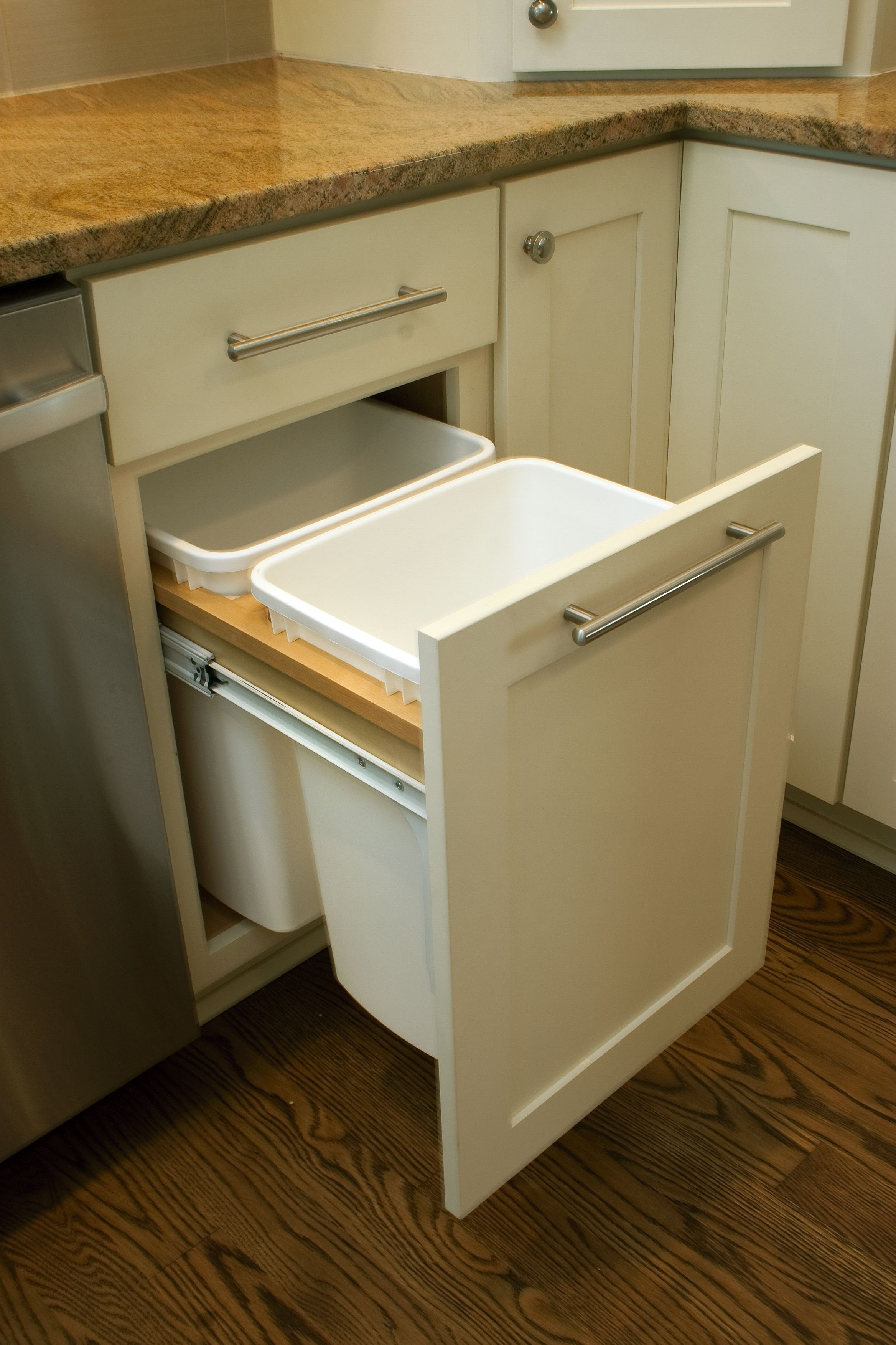 out of sight and out of mind trash and recycling bins are kept organized inside kitchen on kitchen organization cabinet layout id=19002