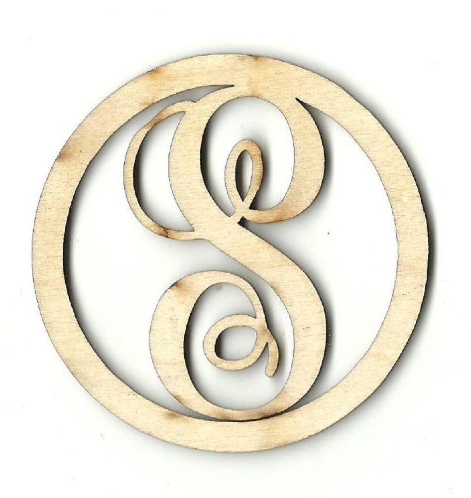 Circle Frame Monogram Personalized Unfinished Wood Sign Laser Cut ...
