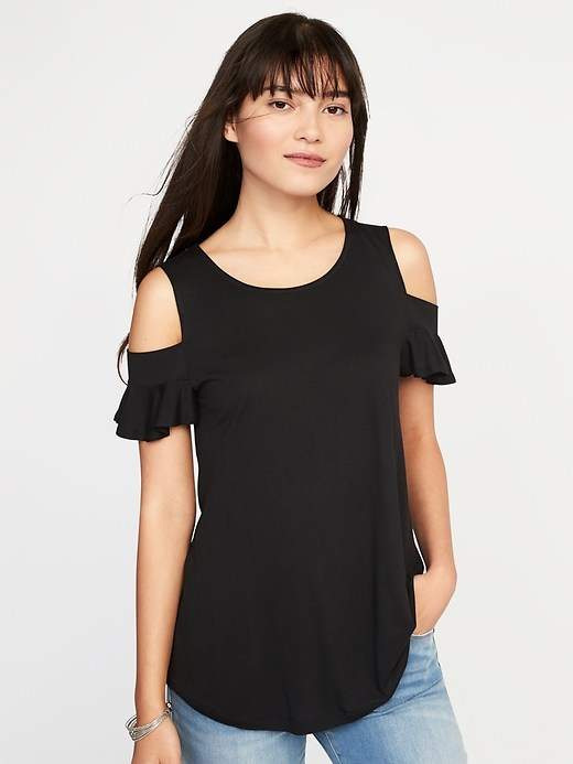 178fd5a68c616d Old Navy High-Neck Cold-Shoulder Swing Top for Women