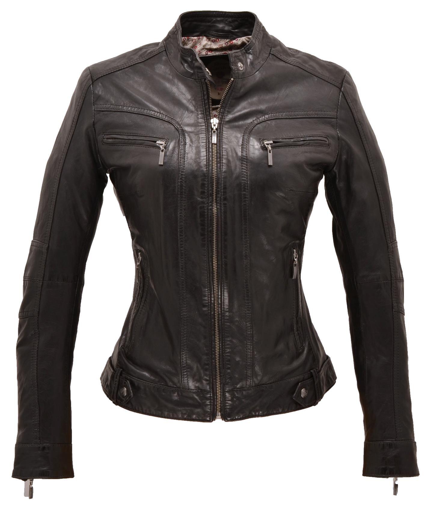 Bien-aimé blouson cuir femme, coupe cintrée, col mao, 2 poches poitrine  TD76