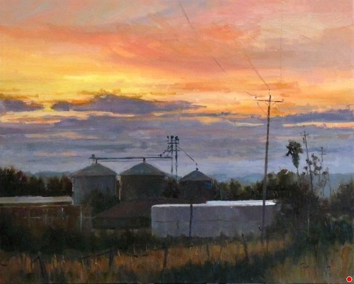 Silos at Dusk by Philippe Gandiol Oil ~ 16 x 20