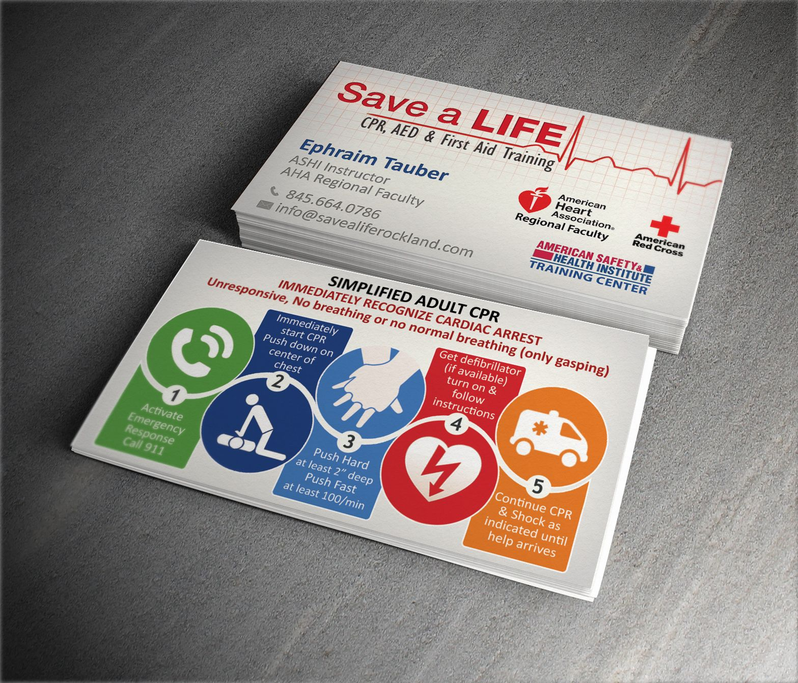 Unique useful Business Card design for CPR instructor | Cpr ...