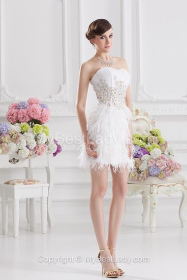 bb79441ee9a5 Ball Gown Sweetheart Sleeveless Short Mini Lace Beading Feathers   Fur  Zipper Up