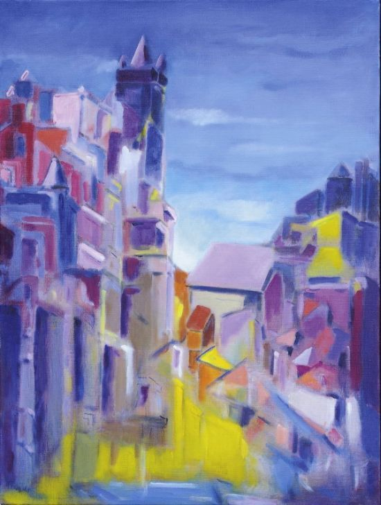 """Hennie van Zuidam, """"Stad"""", 70 x 60 cm; acryl op doek."""