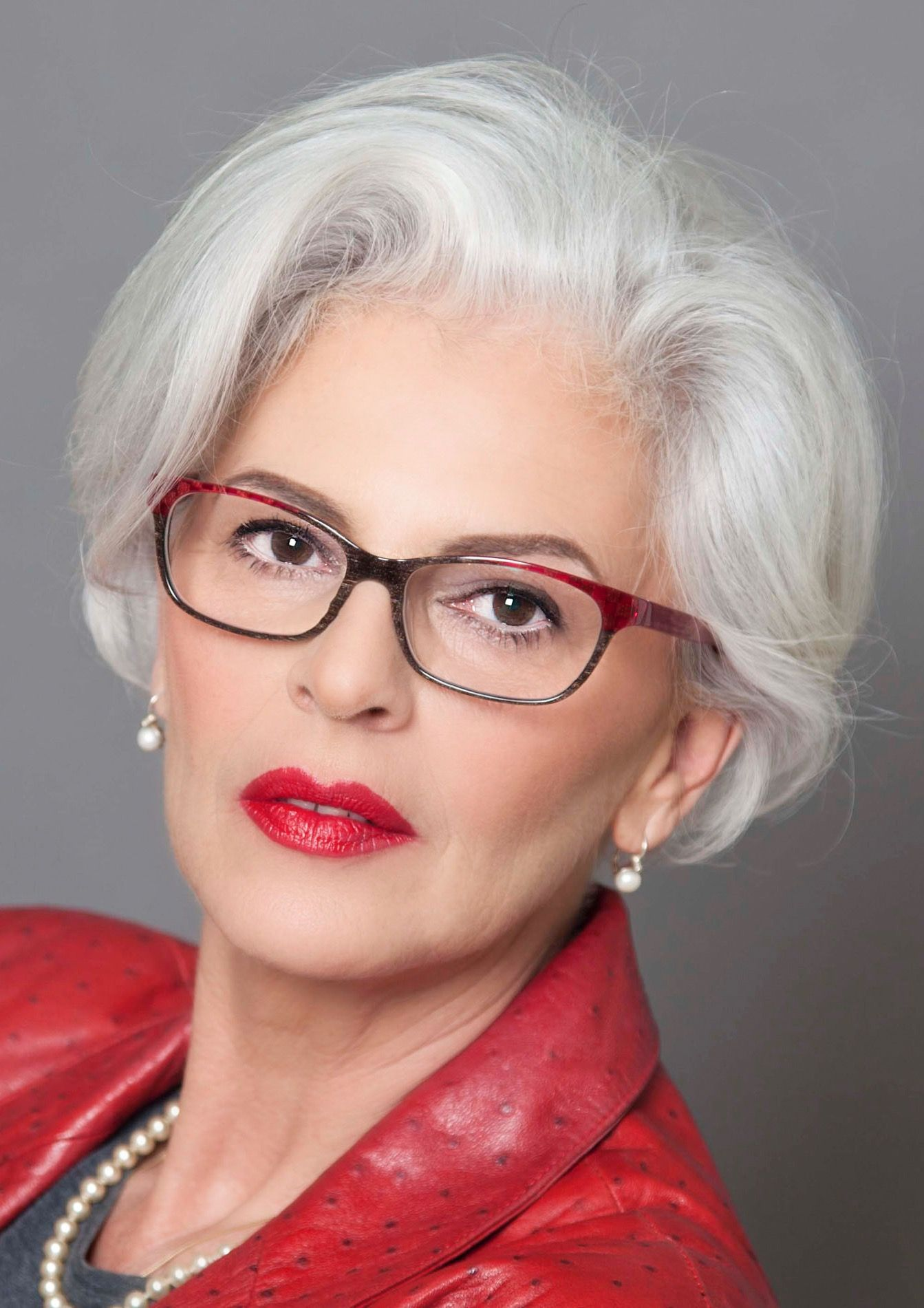 Lady in red 50 shades of silver Pinterest Gray hair