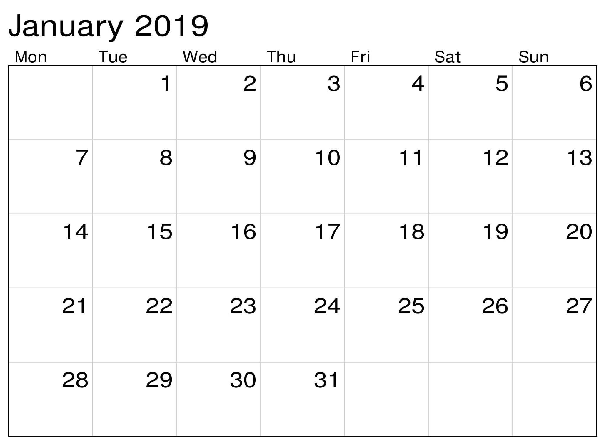Calendar January Printable For Office