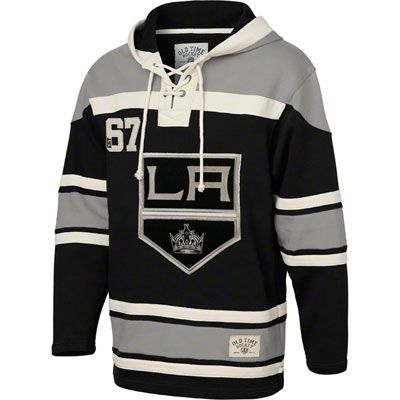 Los Angeles Kings Black Old Time Hockey Lace Up Jersey Hooded Sweatshirt La Kings Hockey Hockey Clothes Jersey Fashion
