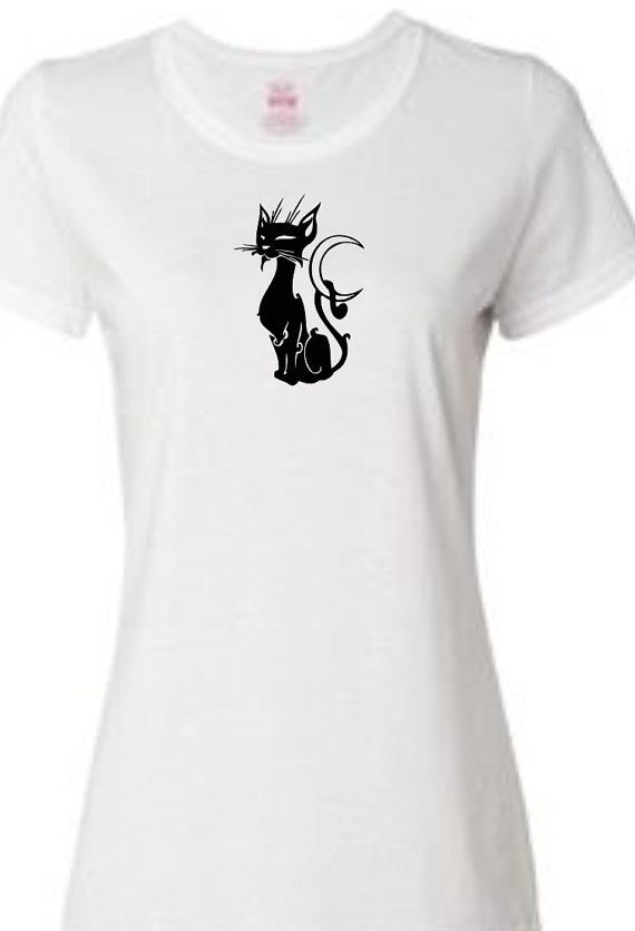 Womens tee shirts with various cat silhouette designs ...