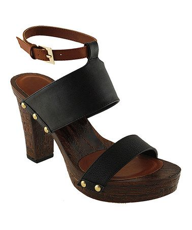 Another great find on #zulily! Black Pandora Ankle-Strap Sandal by Agape #zulilyfinds
