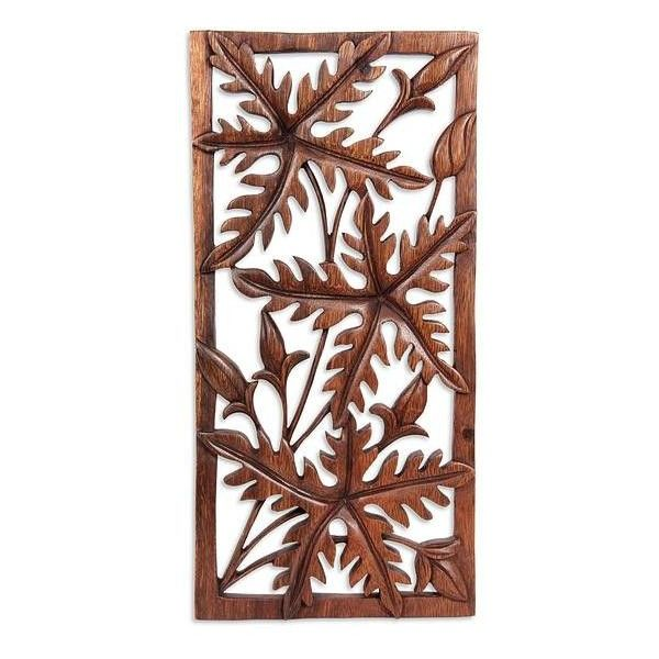Novica handcrafted leaf relief panel featuring polyvore home home decor wall art