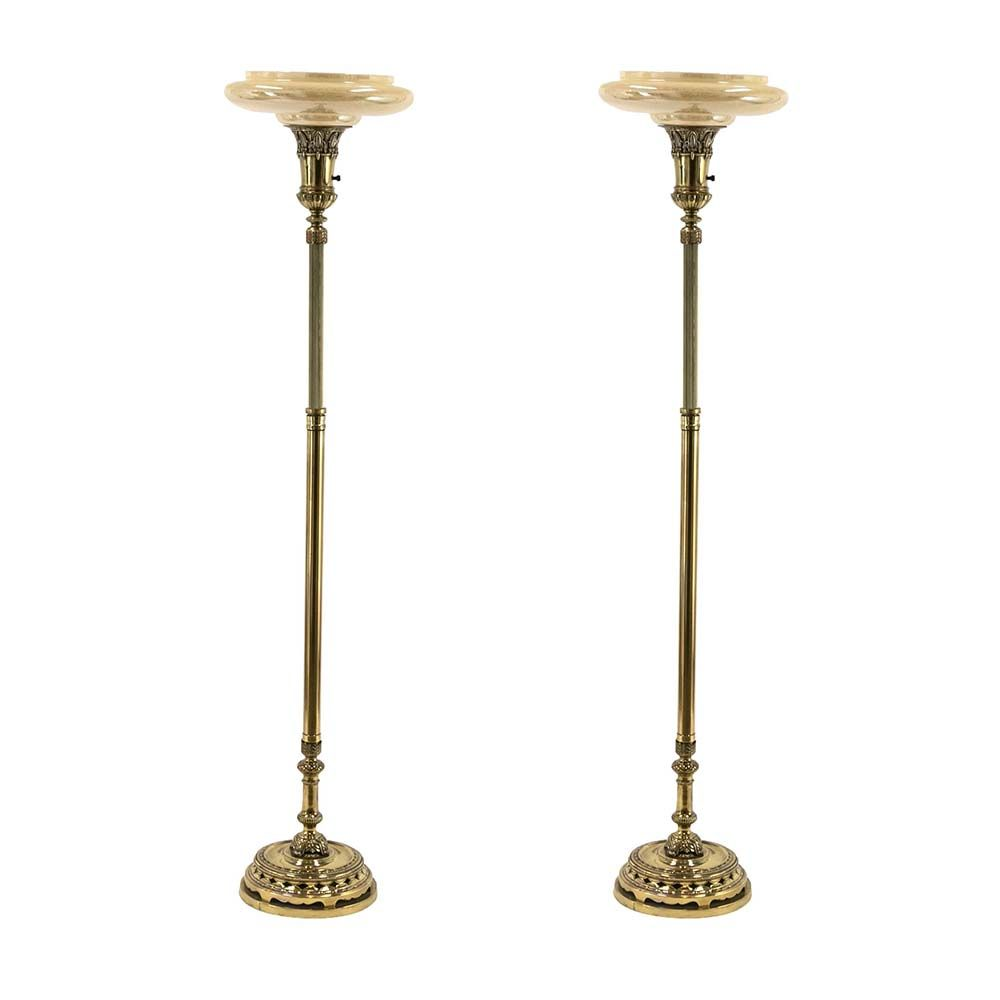 Pair Of Vintage Brass Tone Torchiere Floor Lamps In 2020 Torchiere Floor Lamp Floor Lamp Lamp