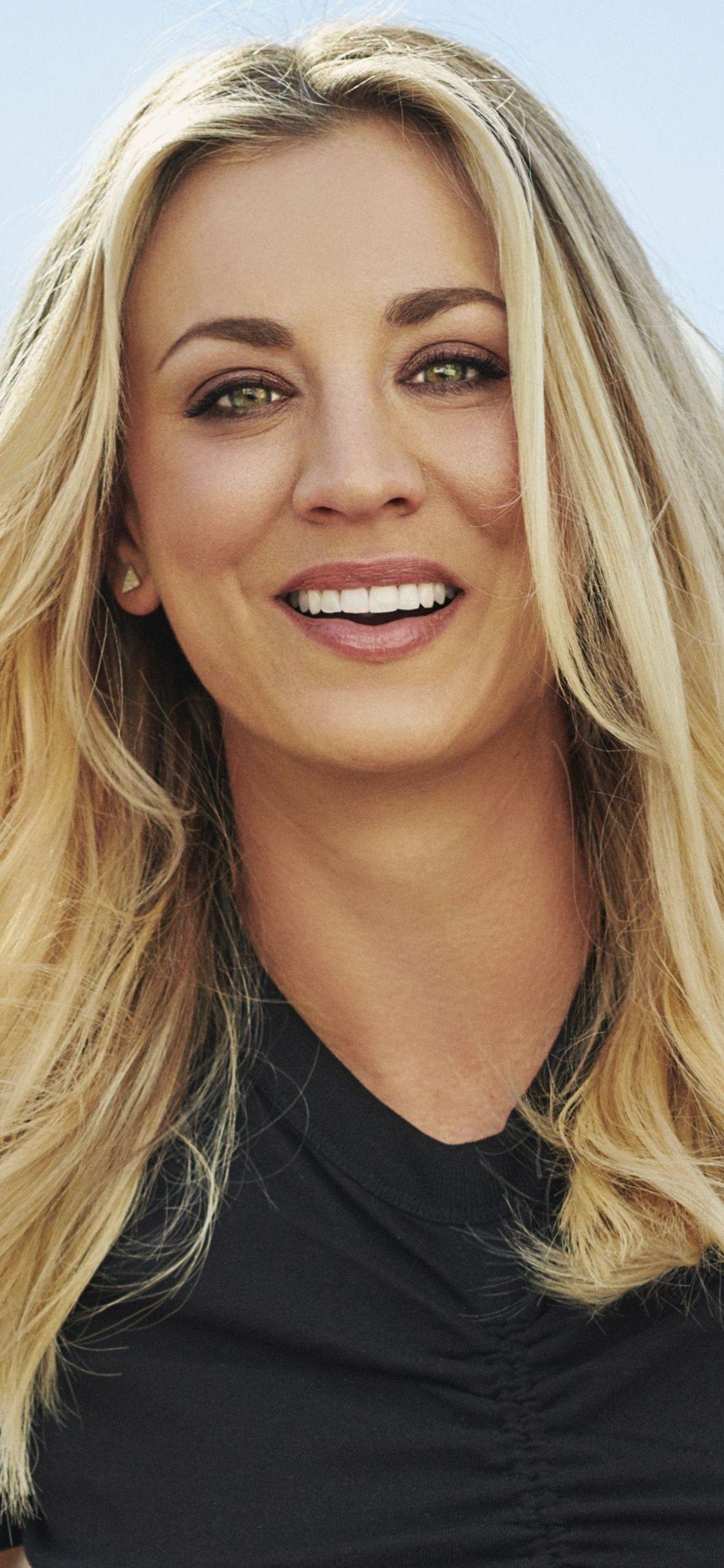 Kaley Cuoco, smile, actress, 2018, 1125x2436 wallpaper ...