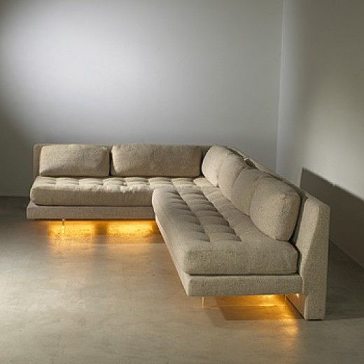 Etonnant Vladimir Kagan, Omnibus Sectional Sofa, C1972. Lights Under The Sofa On A  Concrete Floor  Good Idea!