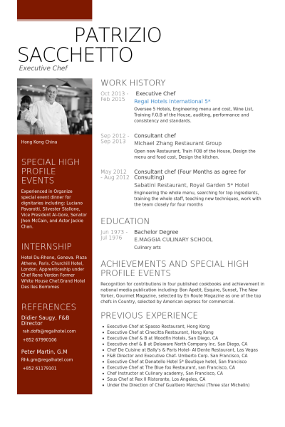executive chef Resume example  chef resume  Chef resume Resume Sample resume