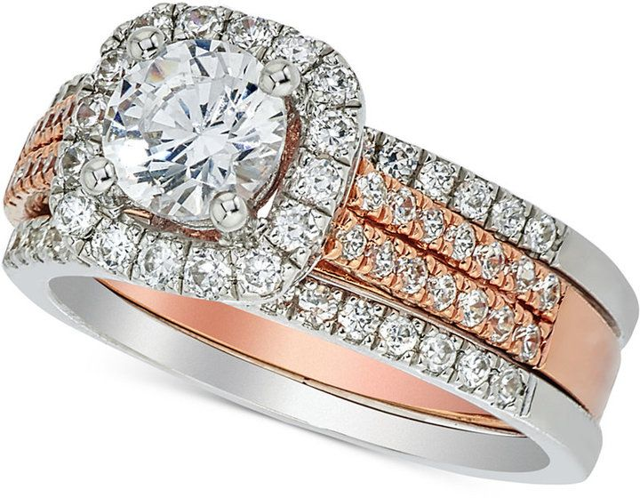 Macy S Diamond Halo Bridal Set 1 5 8 Ct T W In 14k White And