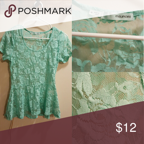 Maurices Mint Green Lace Peplum Top No snags or holes, like new!! Beautiful rose lace. Size Medium. Maurices Tops Blouses