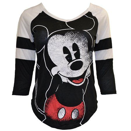 8f2535d4 Women's Juniors Mickey Mouse Large Graphic Print Raglan wht/blk (L) W29 # mickeymouse #raglan #graphictee #top #womensfashion #wspectrumgroup  #walmart #cute