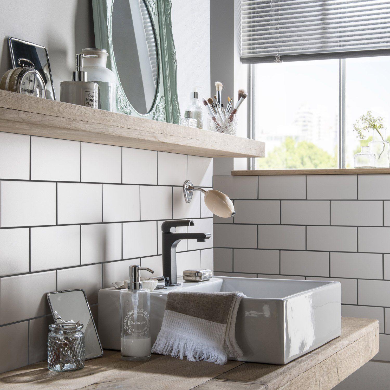 Carrelage Metro Blanc Joint Gris faïence mur forte blanc-blanc n°0 mat l.10 x l.20 cm, astuce