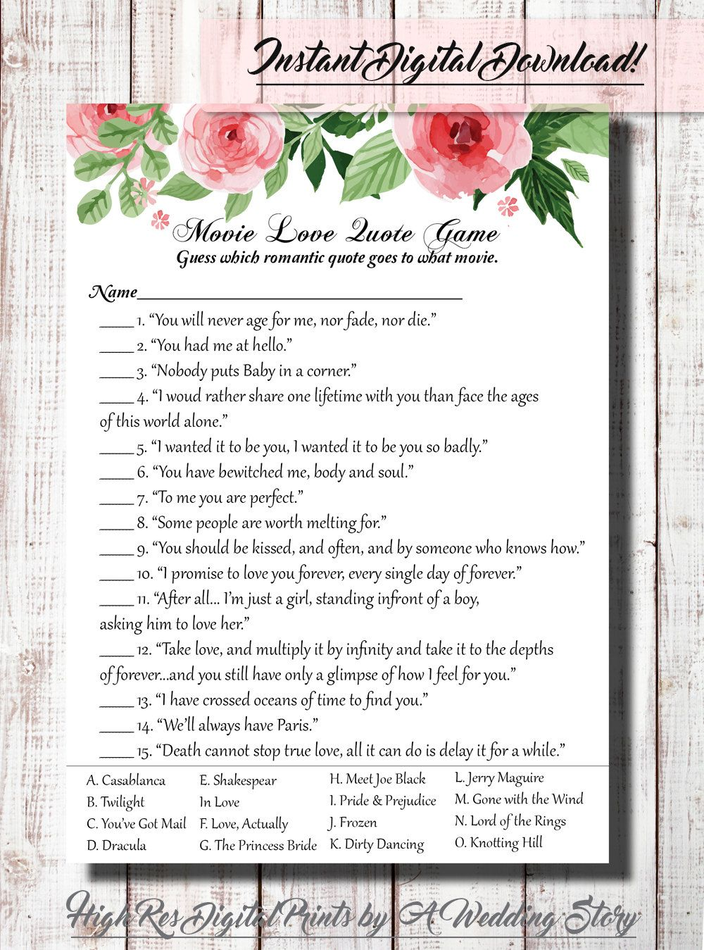 Comfy Movie Love Quote Match Game Printable Matchup Bridal Shower Game Floralshabby Flower Med Game Movie Quotes By Abridalstory Onetsy Movie Love Quote Match Game Printable Matchup Bridal Shower Game