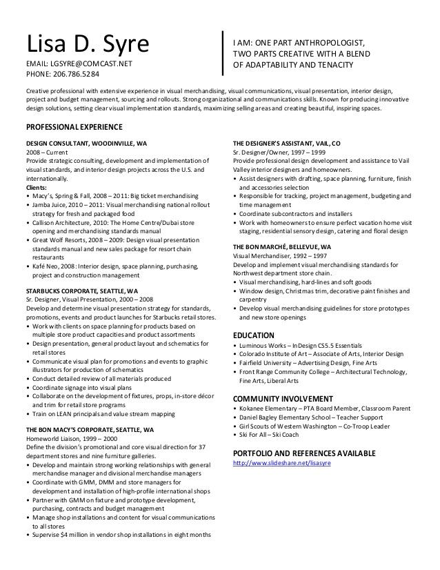 Lisa Syre Resume Visual merchandising jobs, Resume