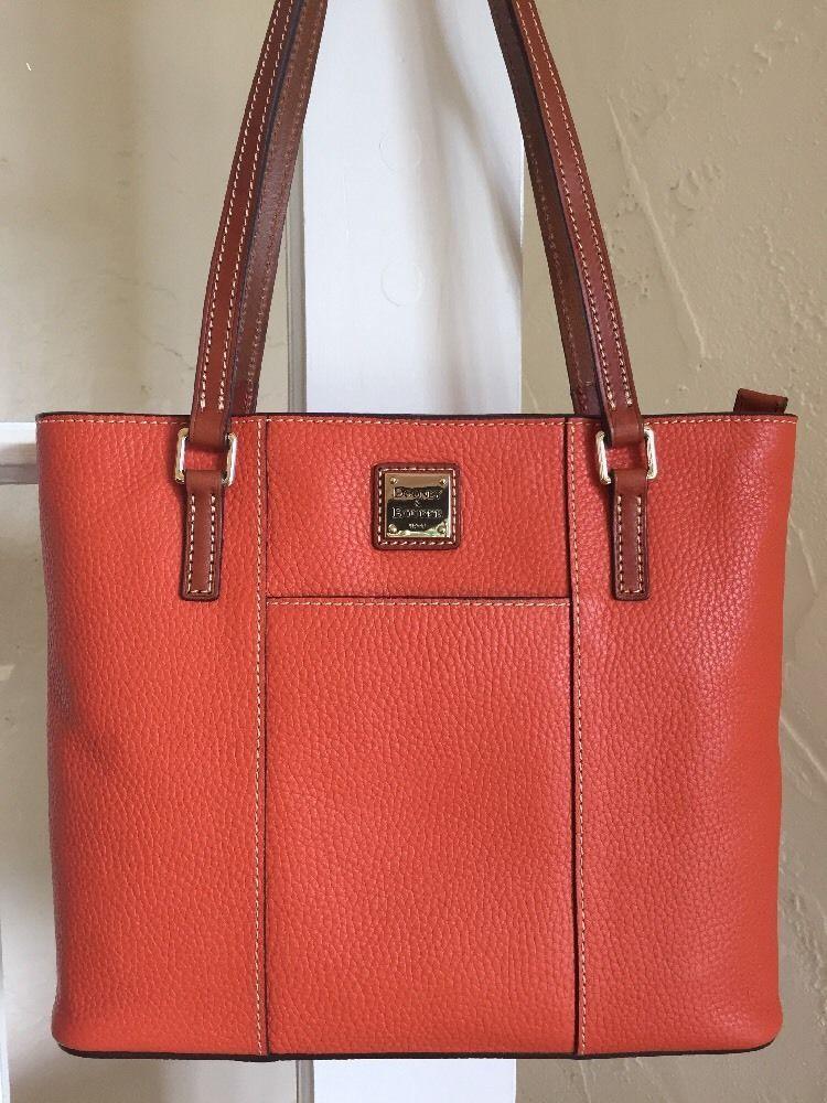 8a3bfdea6343 Dooney Bourke Small Lexington Shopper Tote Tangerine Pebble Grain Leather