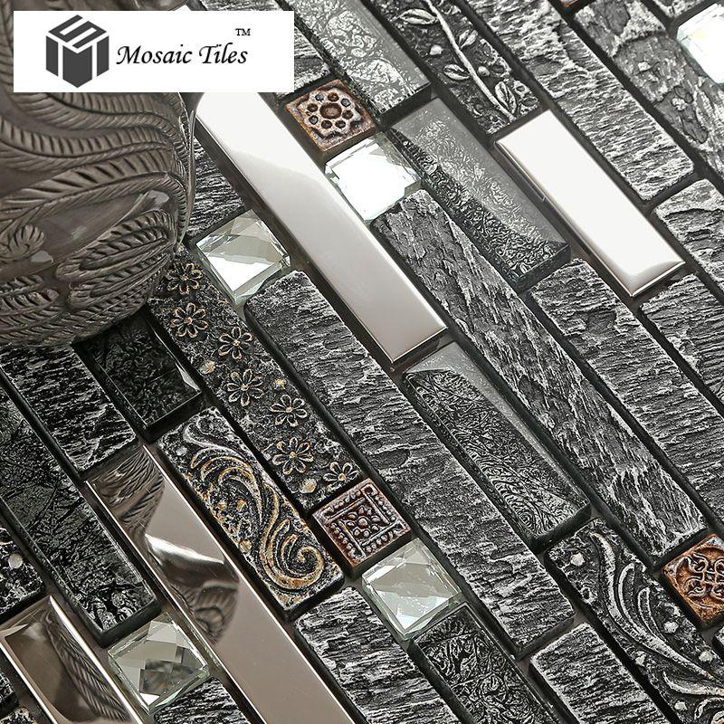 stone black glass tile backsplash kitchen flower pattern mirror