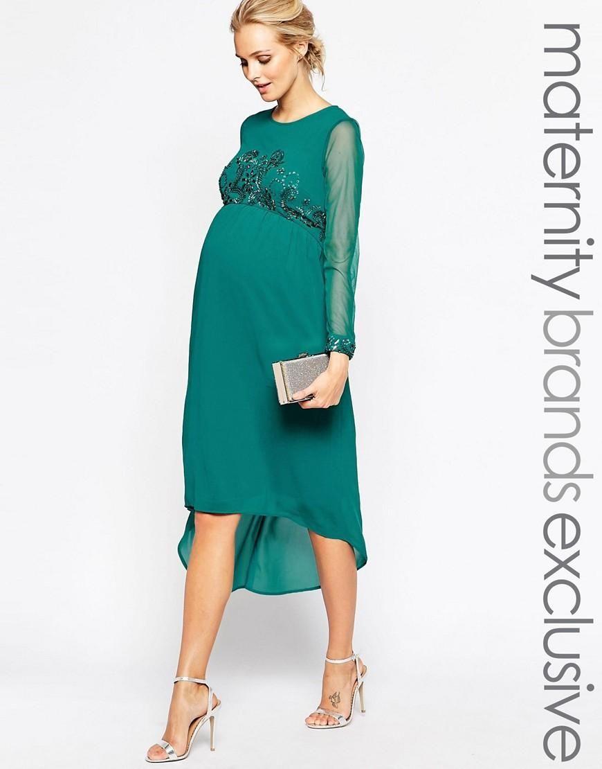Maya Maternity   Maya Maternity Midi Dress With Embellished Bodice ...