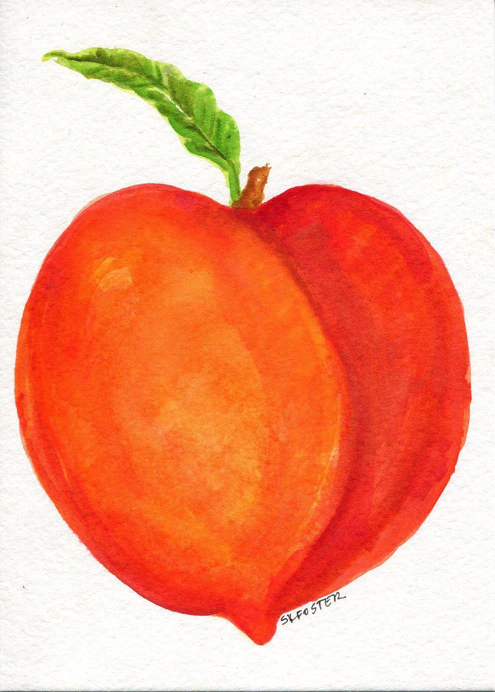3139cf4d7eb Peach Watercolor Painting original