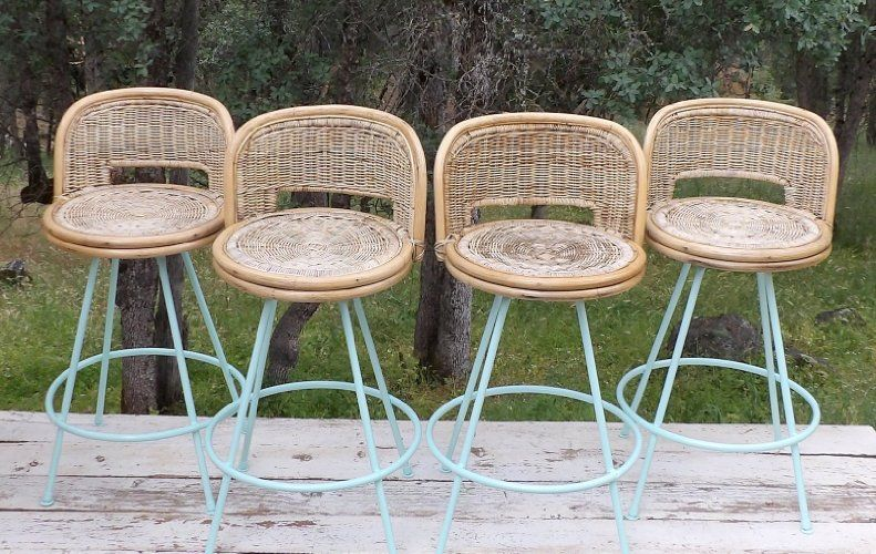 super popular 5ca1f 97707 Amazon.com: Rattan Wicker Bar Stools Aqua Wrought Iron ...