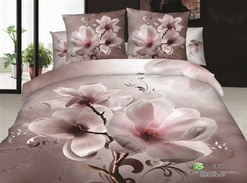joybuy peach blossom bedsheet 100 cotton bed set queen king size bedcover 3d bedding set luxury - Bed Set Queen