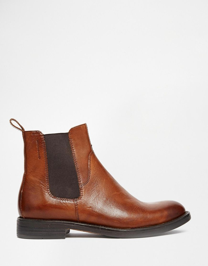 Vagabond Amina Cognac Leather Chelsea Ankle Boots