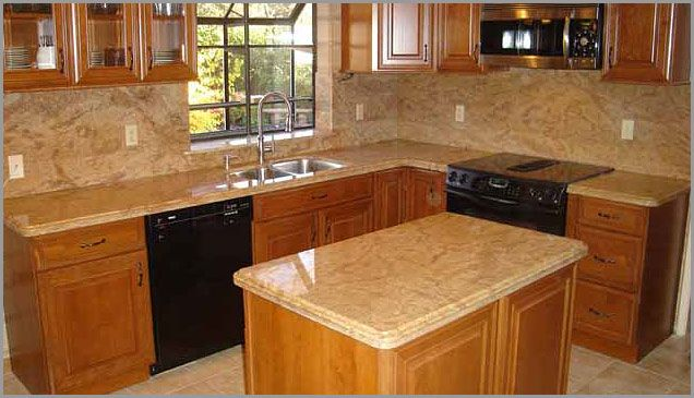 Golden oak cabinets granite countertops gold granite for Kitchen ideas with yellow countertops