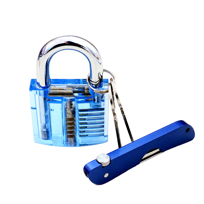 6 In 1 Foldable Knife Lock Pick Car Door Lock Out Emergency Open Unlock Key Tools With One Blue Transparent Practice L Lock Pick Set Lock Picking Car Door Lock