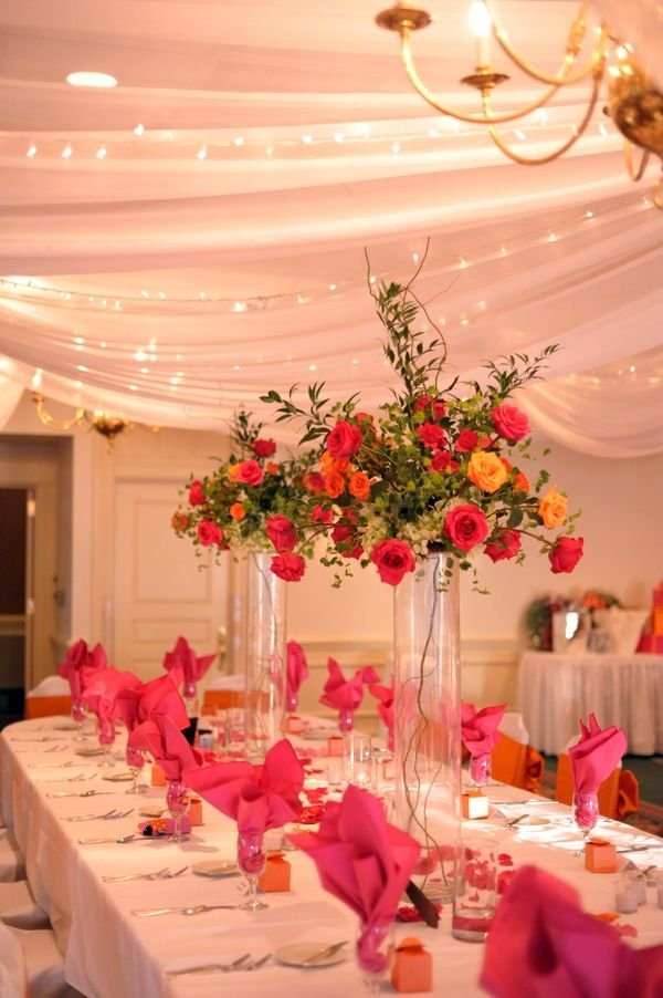 Photos Of Orange And Pink Tall Wedding Centerpieces Tall Bright