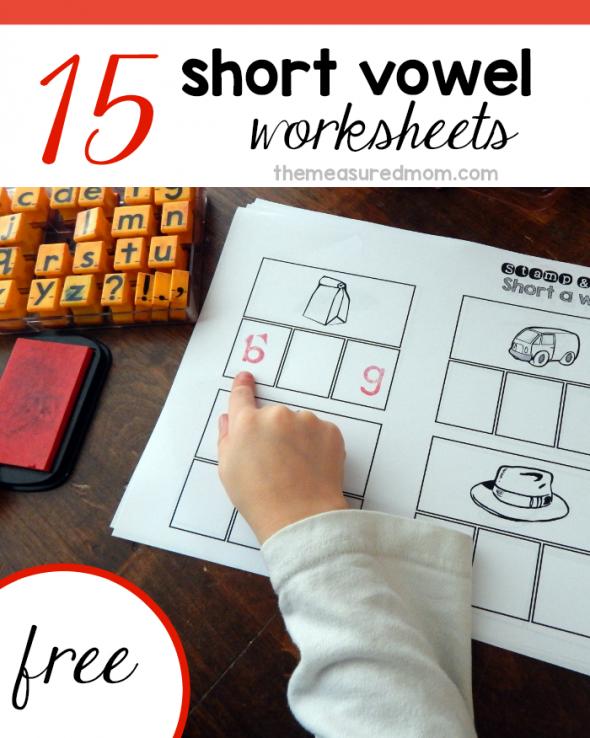 Free Short Vowel Worksheets (Stamp & Spell Vowel
