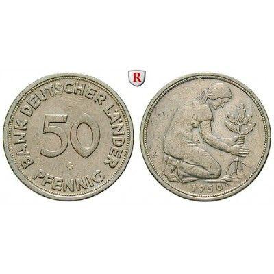 Bundesrepublik Deutschland, 50 Pfennig 1950, G, ss, J. 379