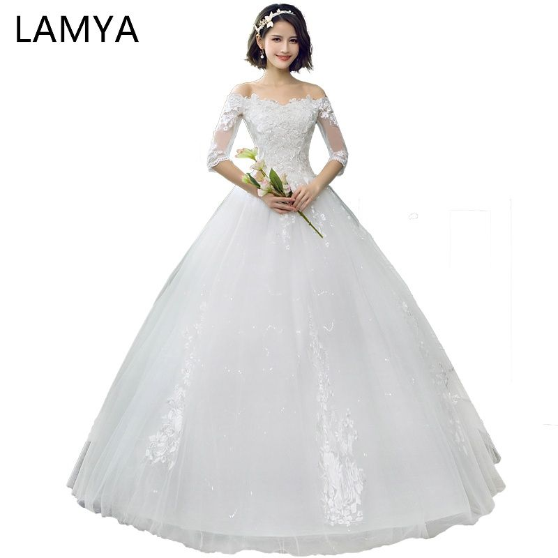 d626faafea1c7 LAMYA Applique Four petals Flower Wedding Dress Lace Princess ...