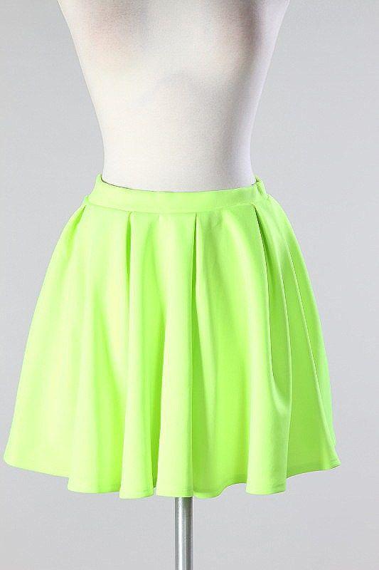 e5f14b33e9 Neon Green Skater Skirt