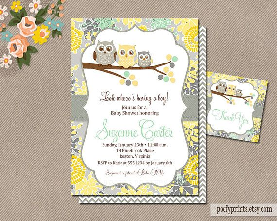 Owl Baby Shower Invitations Yellow Gray Green Diy Printable Gender Neutral Free
